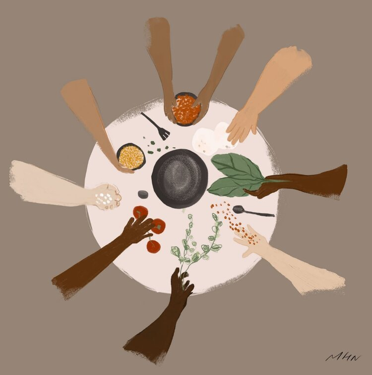 Drawing of arms of all colors in a circle around a table with ingredients to cook together