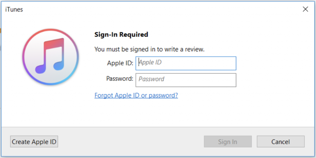 iTunes sign in page